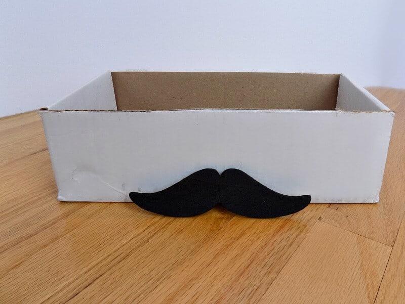 black mustache in front of white box