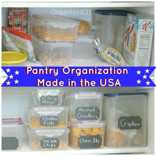 kitchen containers organized on shelves