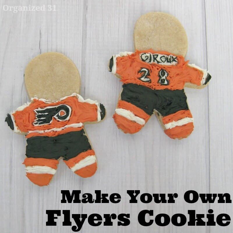 2 DIY frosted Philadelphia Flyers cookies
