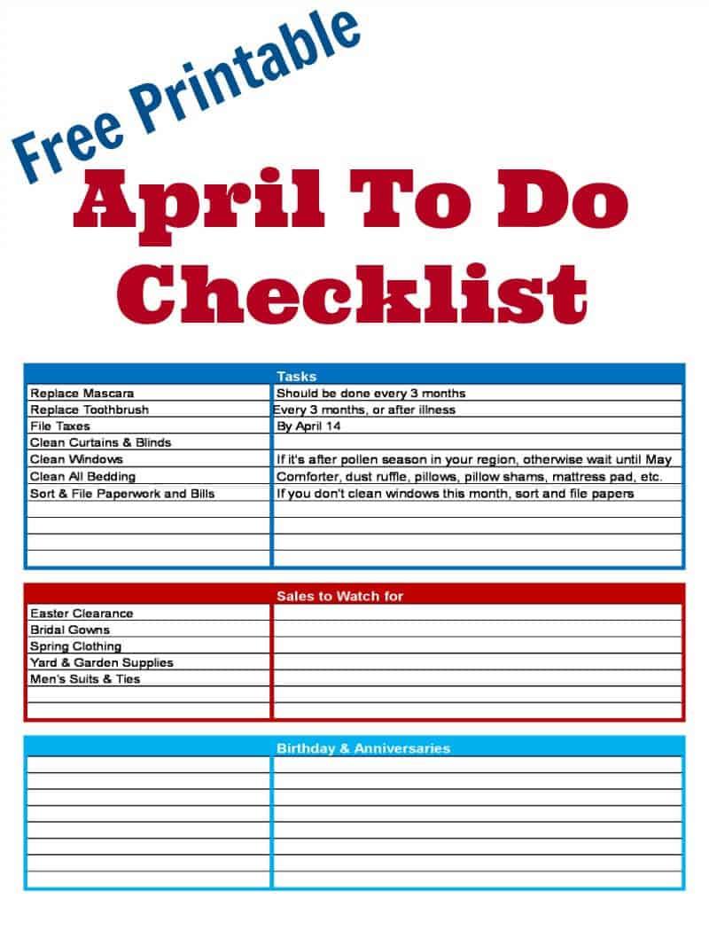 Free Printable April To Do Checklist - Organized 31