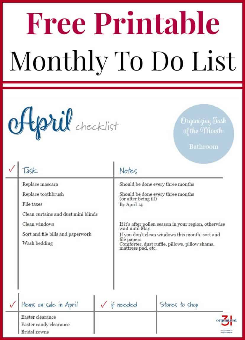 april to do checklist organized 31