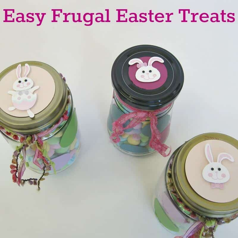Easy Frugal Easter Treats using a recycled jar for an upcycled gift.
