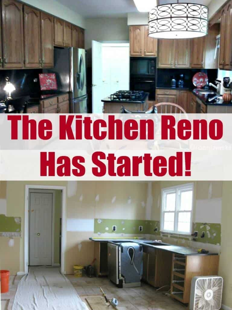 top image - out-of-date dark, cluttered kitchen, bottom image - kitchen in mid renovation