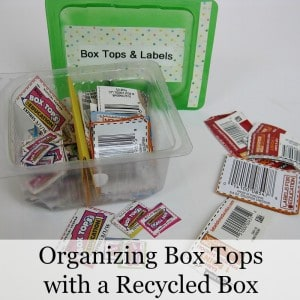 Organizing Box Tops with a Recycled Container