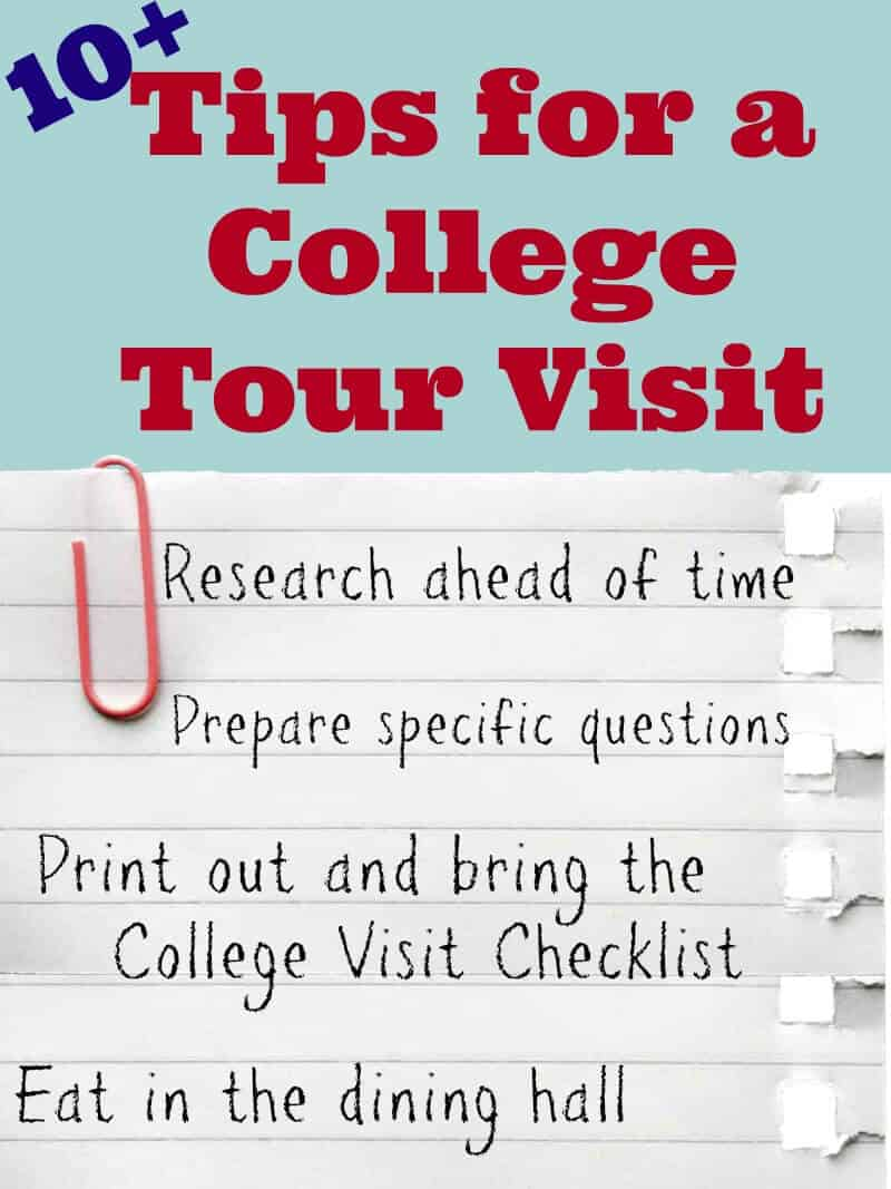 a graphic of a piece of paper with Tips for a College Tour Visit written on it, and as the title text