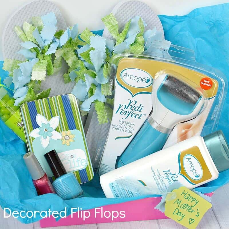 Pampering Mother's Day Gift Decorated Flip Flops - Organized 31 #AmopeLovesMoms #Ad