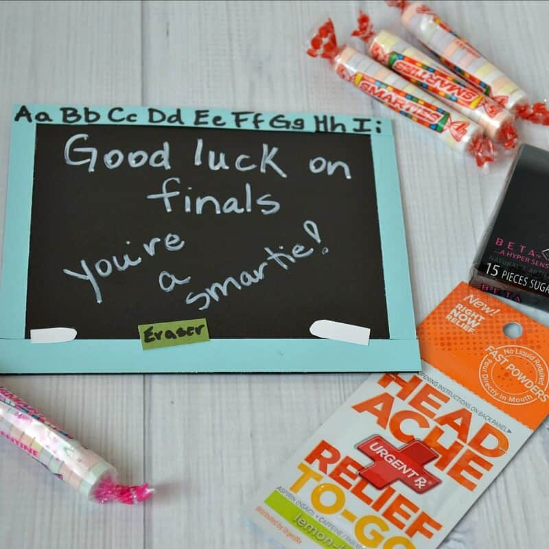 "Envelope that looks like a chalkboard and says ""Good Luck on Finals"" with candy scattered"