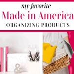 2 images - desk organizing products and woman holding laundry basket