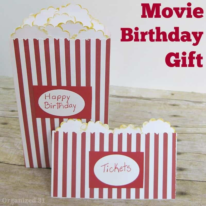 card and gift envelope decorated to look like movie theater popcorn box