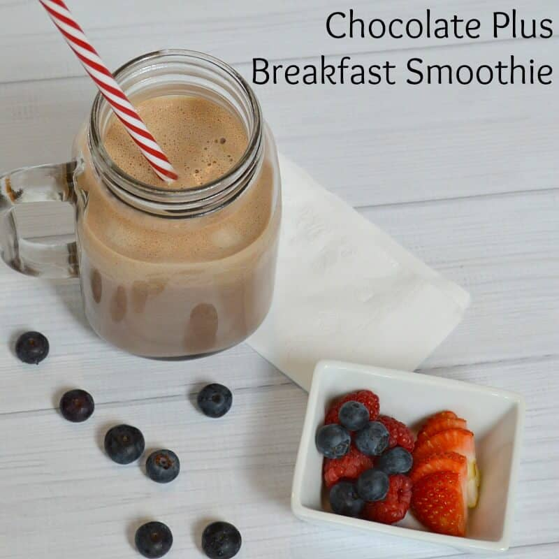 Easy Chocolate Plus Breakfast Smoothie for a quick and nutritious start (the plus is peanut butter and banana) #50YearsofBreakfast #ad