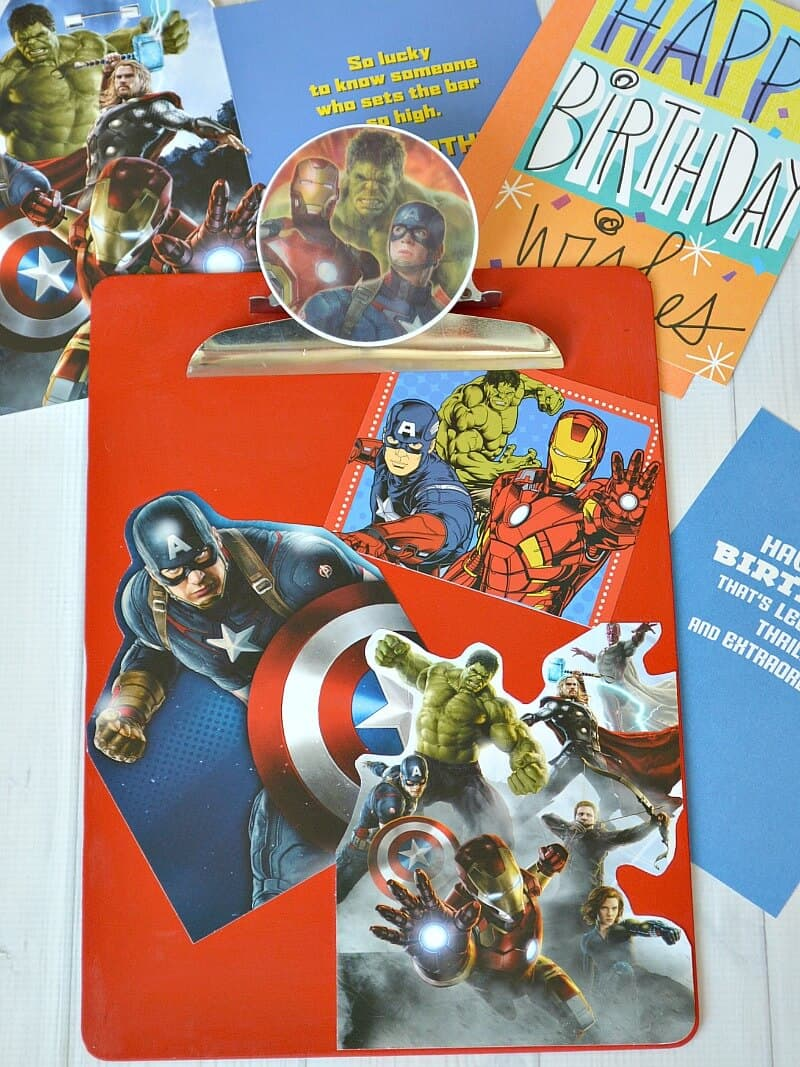 Fun Avengers crafts and activities shared by top US Disney blogger, Marcie and the Mouse: DIY Avengers Card Clipboard - Make an easy craft with recycled birthday cards #SendSmiles #Ad