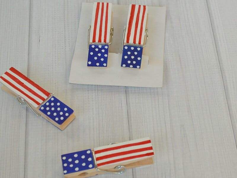 patriotic painted wood clothespins in red, white and blue