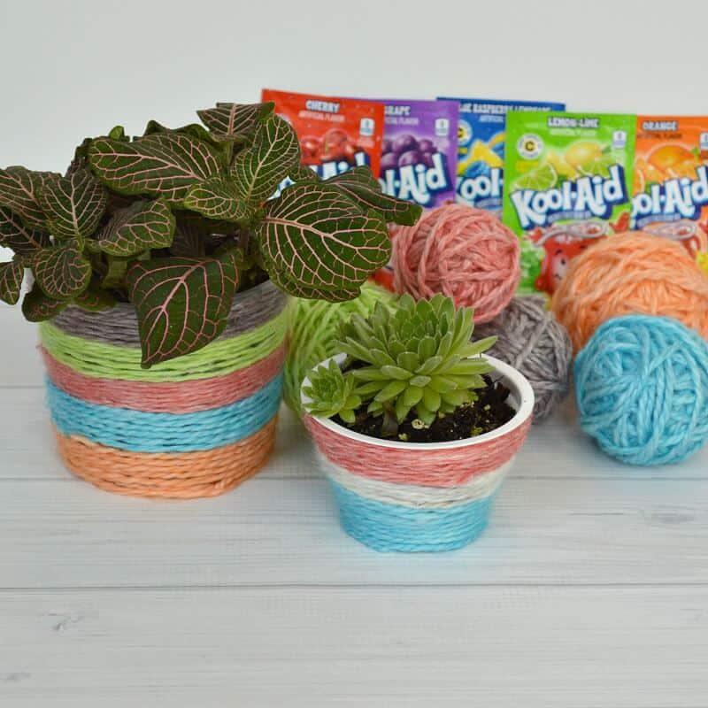 Kool-Aid Dyed Yarn DIY Plant Pot #WinKoolAidLoot #Ad