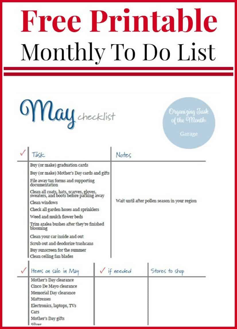 may to do checklist free printable - organized 31
