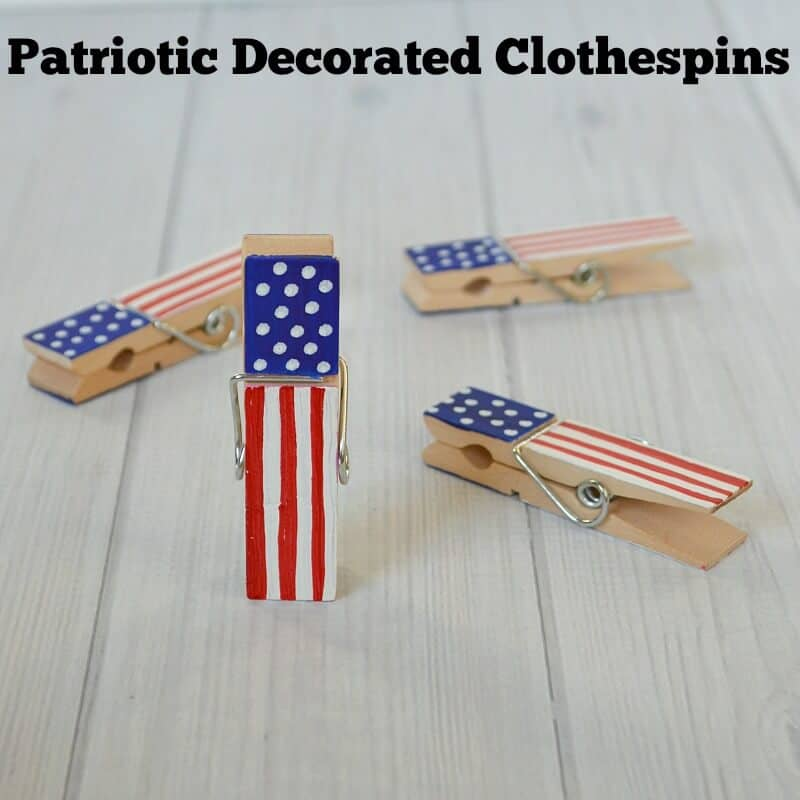 close up of clothes pins painted to look like the American flag