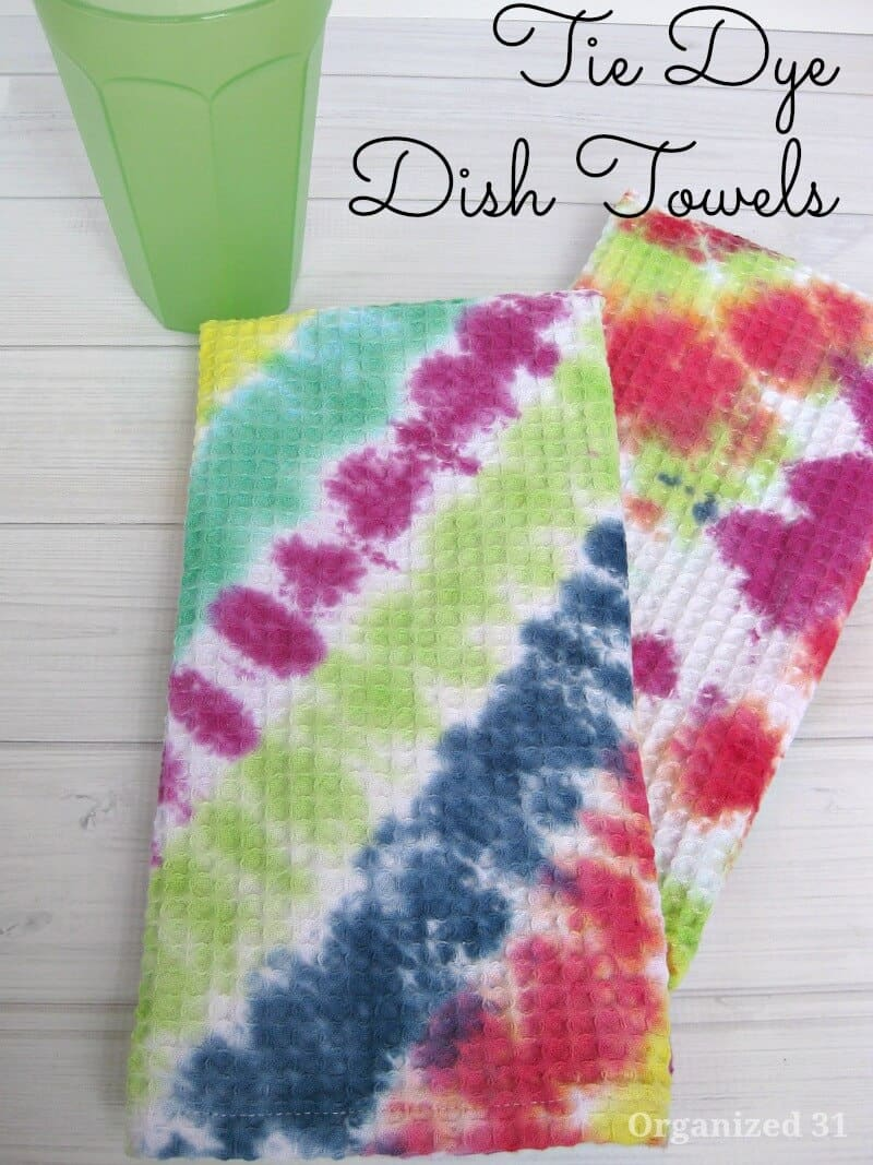 DIY Tie Dyed Dish Towels. Make these easy tie dye towels for yourself or to give as gifts
