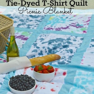 DIY Tie-Dyed T-shirt Quilt Picnic Blanket - perfect for a summer picnic and the 4th of July