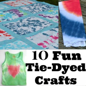 collage of colorful tie dyed projects