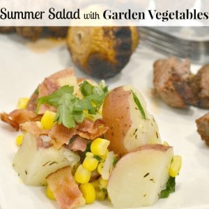 Summer Salad with Garden Vegetables & bacon- perfect for summer cookouts, barbecues and picnics