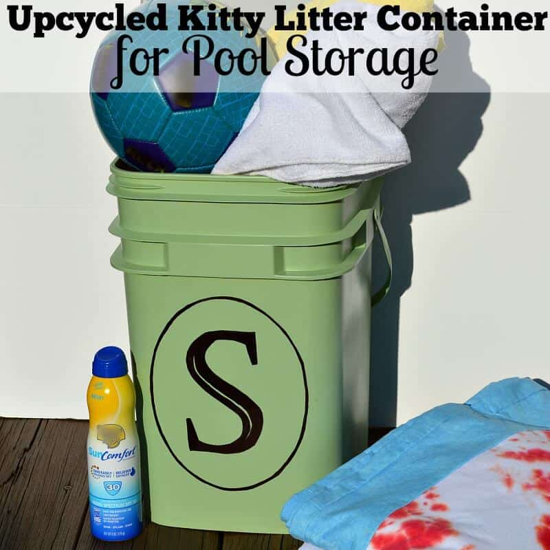 DIY Pool Storage Container - Looking for uses for cat litter containers? This easy DIY project gives you many different organizing and storage options.