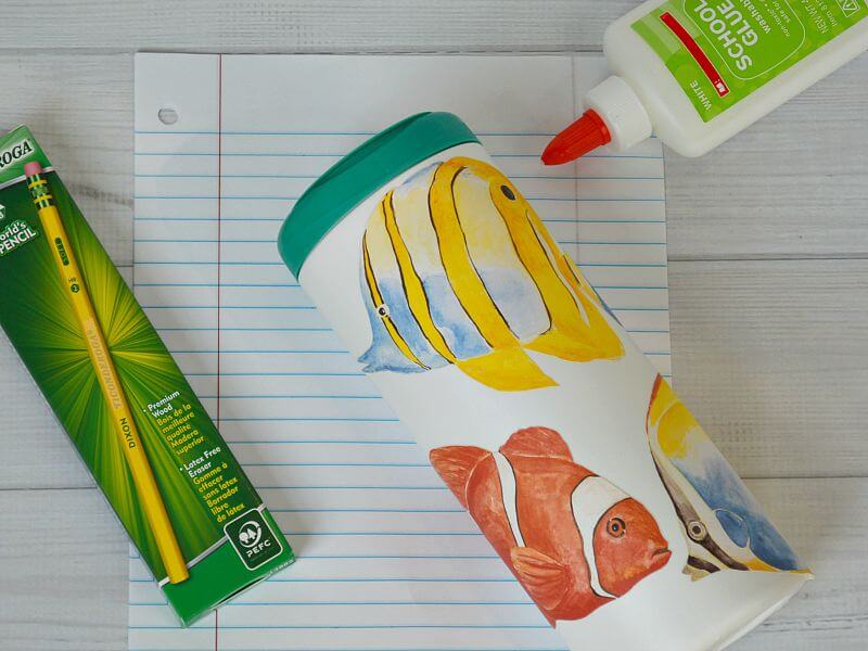 School supplies with wipes container decorated with fish decals