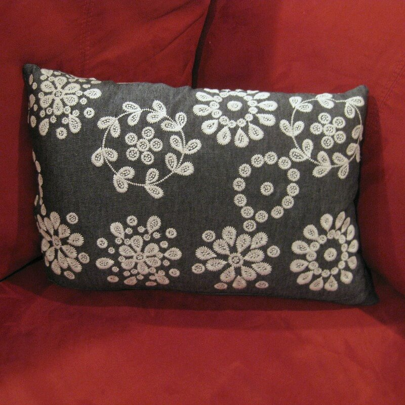 Use a beautiful recycled skirt to make an easy upcycled skirt throw pillow in less than an hour.