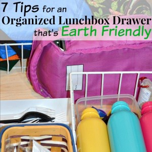 7 easy tips for an organized lunchbox drawer. It's back-to-school time and time to organize your kitchen. These tips are encourage your child's independence and are earth friendly.