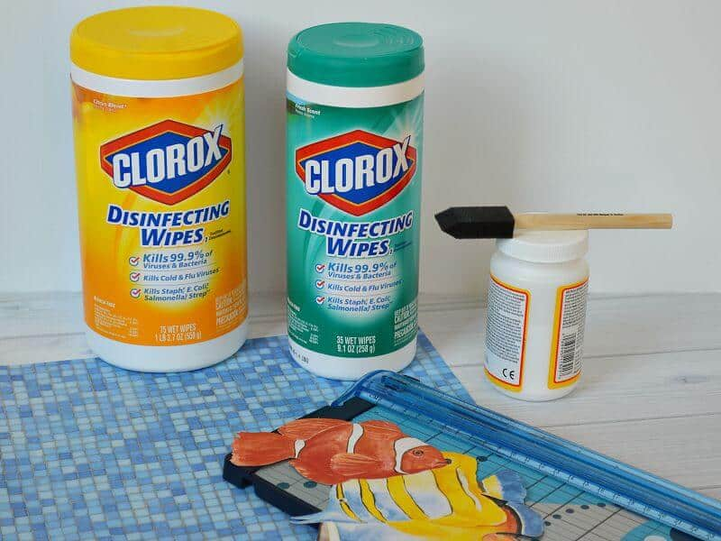 2 Clorox wipes containers with crafting supplies in front