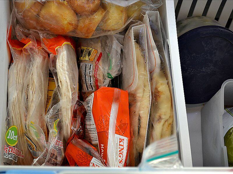 overhead vies of contents of freezer drawer neatly organized