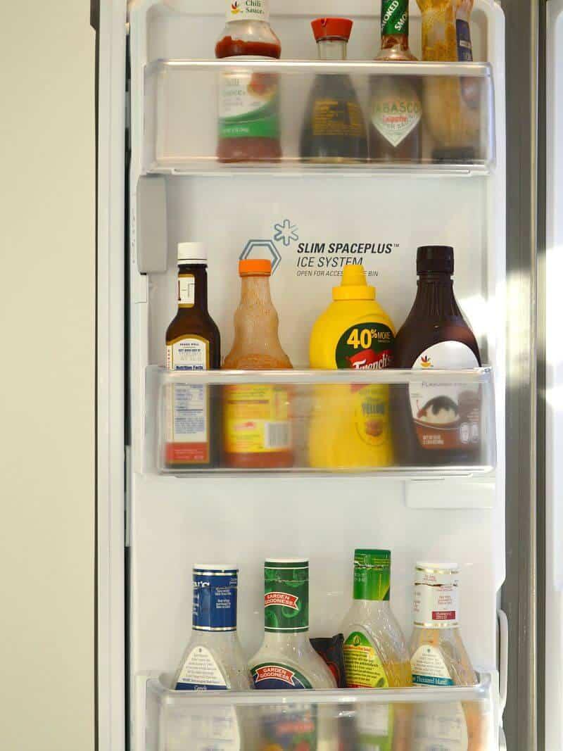 condiments inside refrigerator door