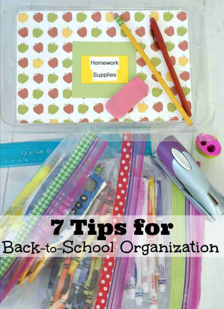 Colorful decorated box for school supplies with text overlay.