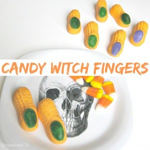 Make these candy witch fingers for a fun Halloween party treat.