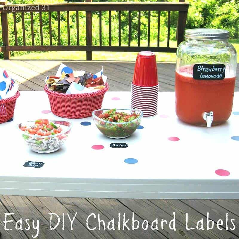 Make these easy DIY Chalkboard labels for your next party and they only cost pennies to make.