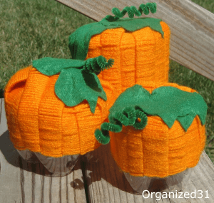 Make these Soda Bottle Pumpkins from recycled soda bottles for your Fall decorating and decor.