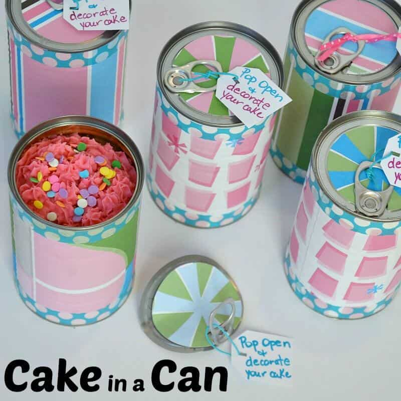 Pink frosted cakes baked in pop-top cans