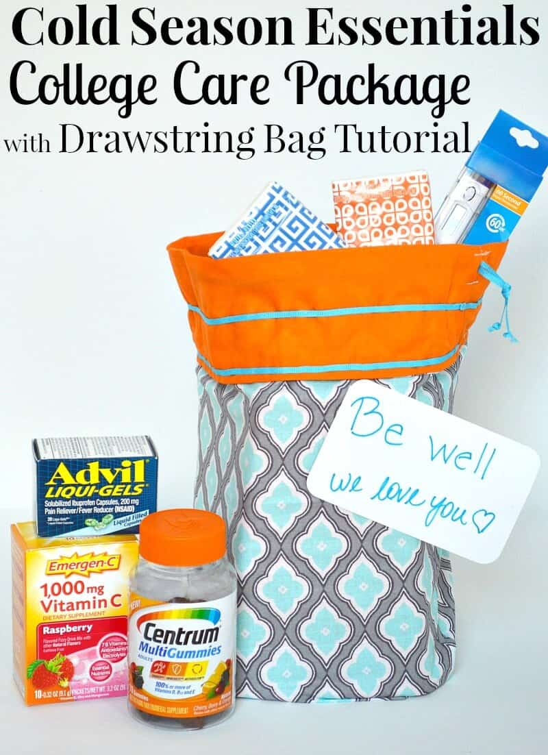 Make aCold Season Essentials College Care Package with Drawstring Bag Tutorial to show your student you're thinking of them. #BeHealthyforEveryPartyofLLife [ad]
