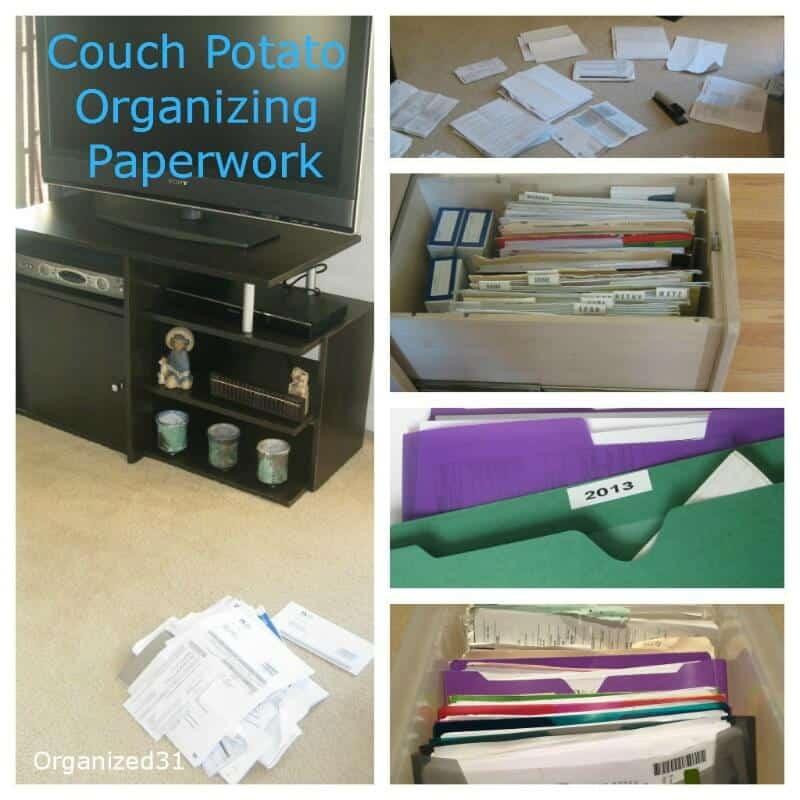 Couch potato organizing paperwork can be done while you watch your favorite TV show or movie.