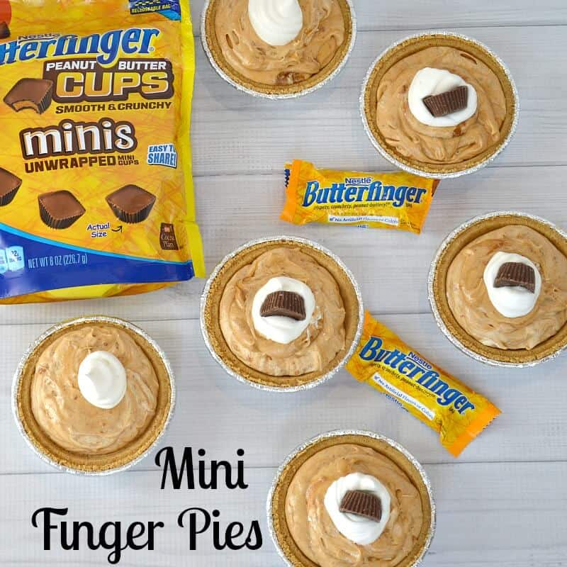 mini pies with whipped cream and mini candy bars