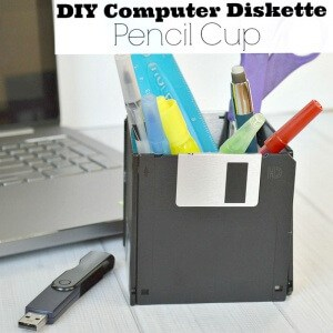 DIY Computer Diskette Pencil Cup