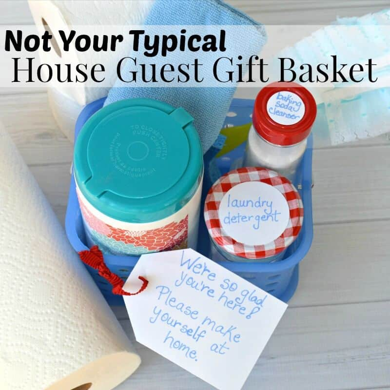 This is not your typical house guest gift basket, but your house guests will appreciate feeling right at home when the visit. #HostingHacks [ad]