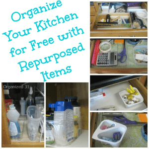 collage of repurposed items used to organize in the kitchen