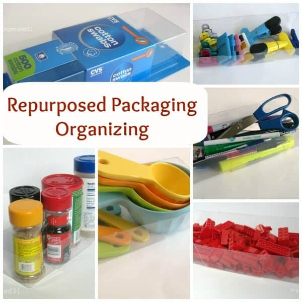 collage of repurposed items used for organizing with title text overlay reading Repurposed Packaging Organizing