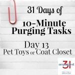 Day 13 Purging Tips – Pet Toys or Coat Closet