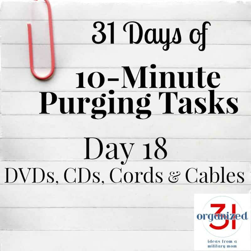 """paper with lines and """"day 18 DVDs, CDs, Cords, and cables"""""""