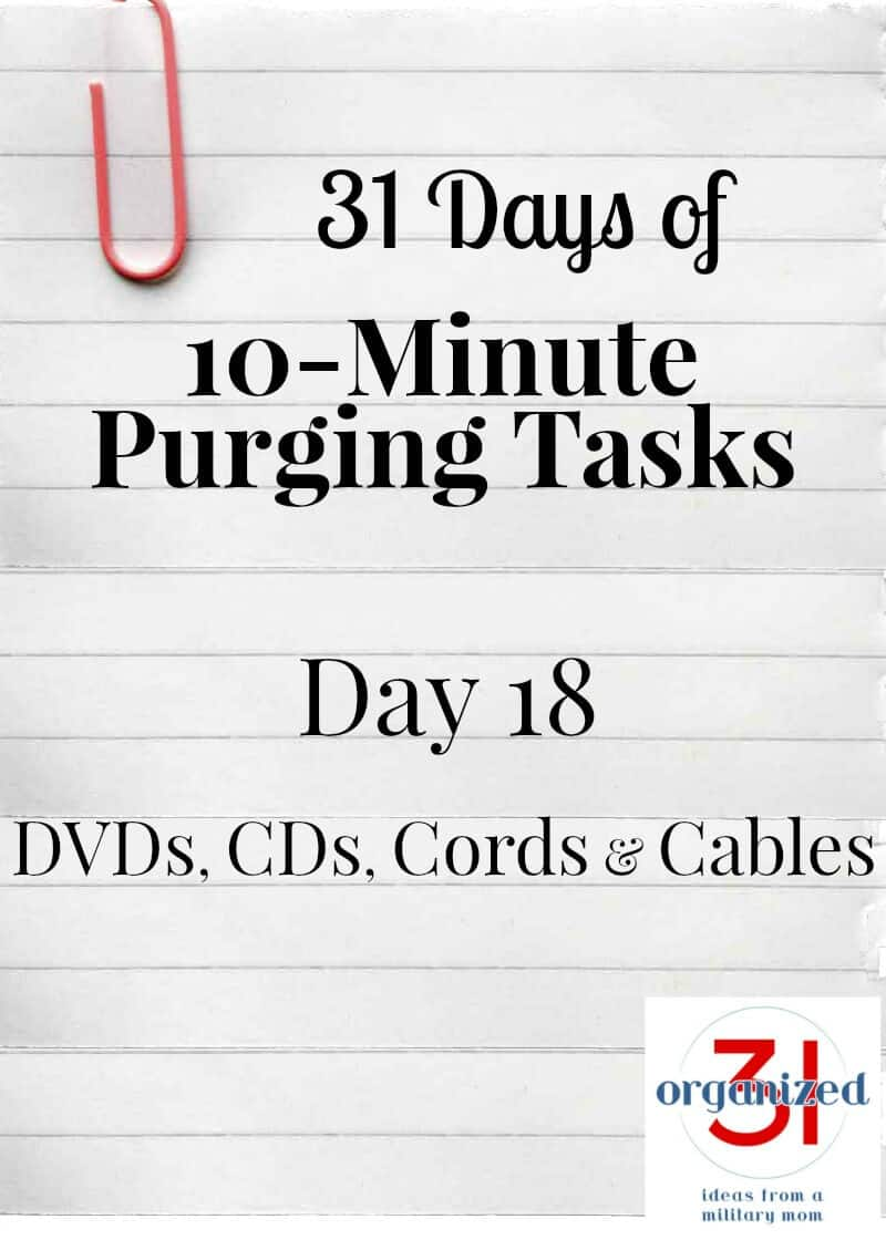 """lined notebook paper with """"day 18 DVDs, CDs, Cords and Cables"""""""