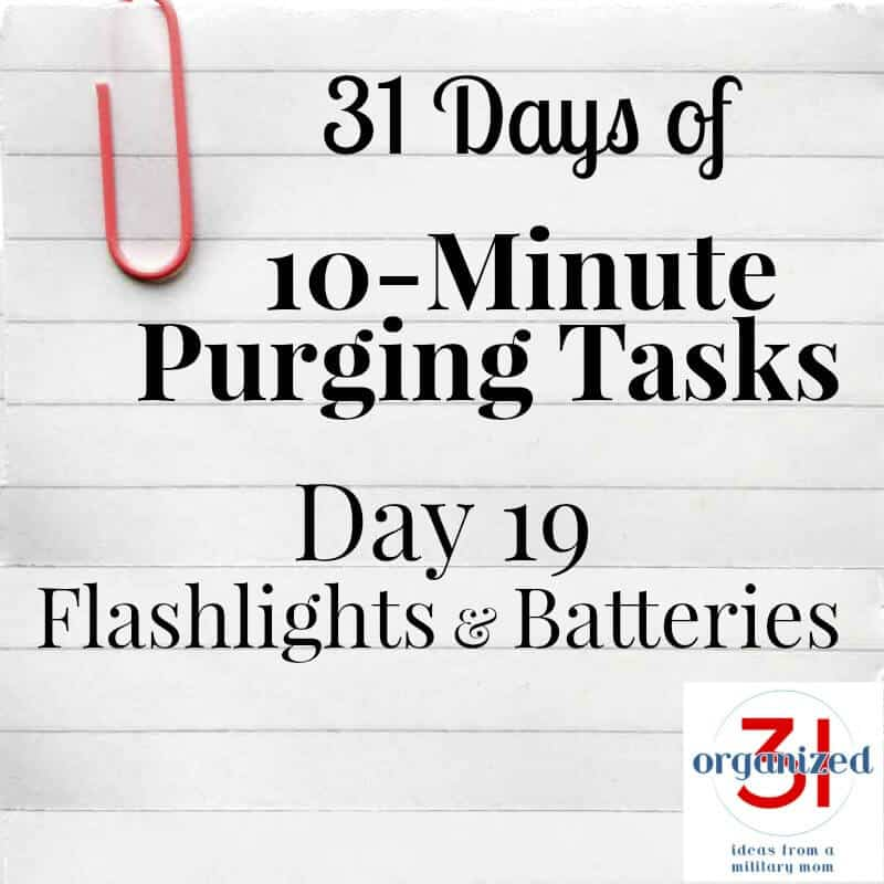 "lined paper with ""day 19 flashlights and batteries"""