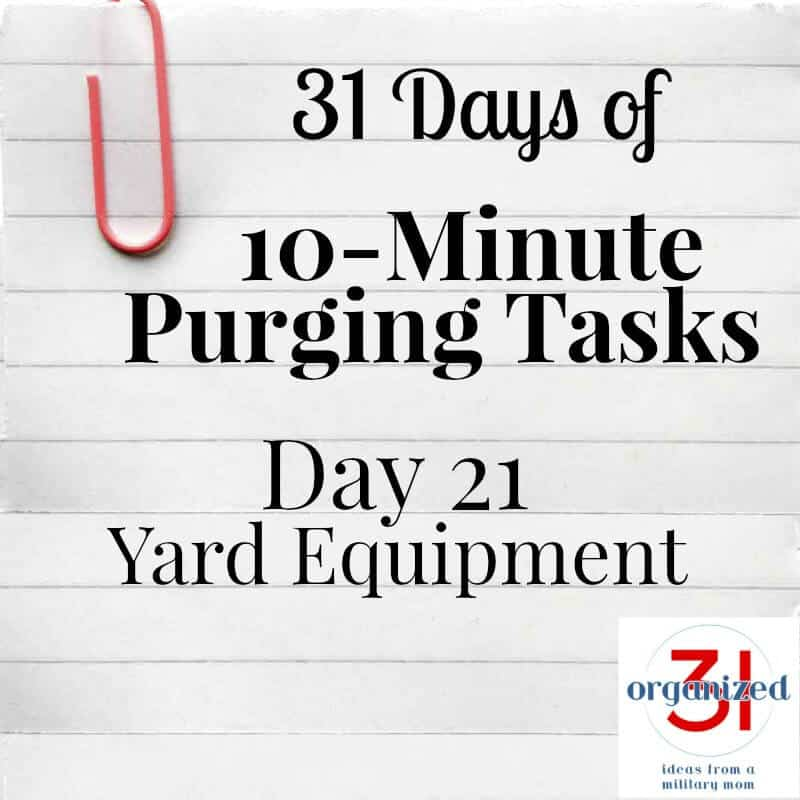 "paper with ""day 21 yard equipment"" on it"