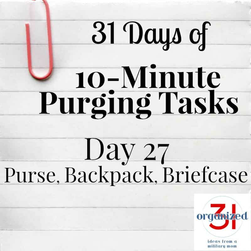 "line paper with paperclip and text ""Day 17 Purse, Backpack, Briefcase"""