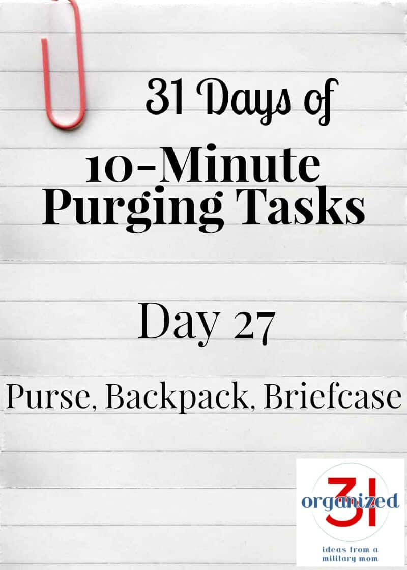 "long piece of paper with paperclip and text ""Day 27 Purse, backpack, briefcase"""