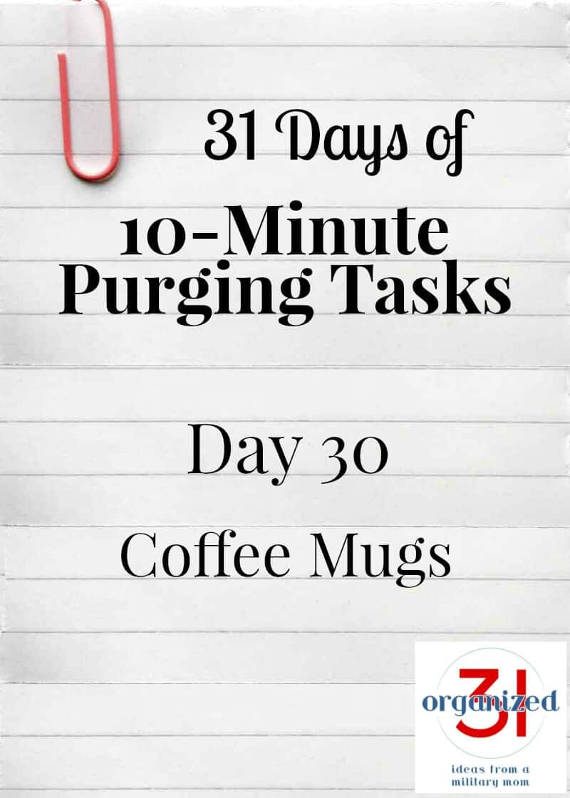 """piece of notebook paper with pink paperclip and """"Day 30 Coffee Mugs"""" printed"""